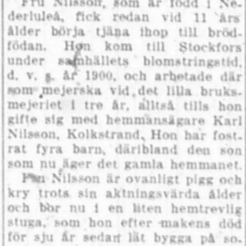 Nilsson Sofia Kolkstrand 75 år 16 okt 1951 NK