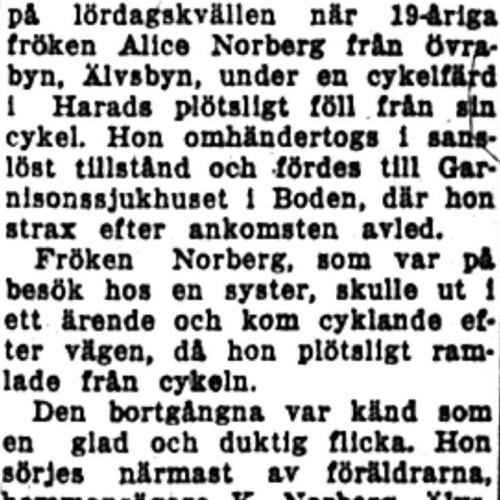 Norberg Alice Älvsbyn död 3  Juni 1953 NK