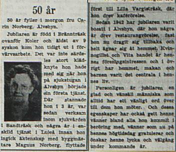Norberg Carin Älvsbyn 50 år 18 juni 1953 Pt