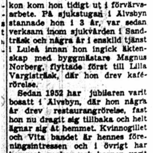 Norberg Carin Älvsbyn 50 år 19 Juni 1953 NK