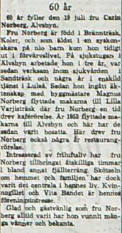 Norberg Carin Älvsbyn 60 år 19 juni 1963 NK