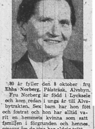 Norberg Ebba Viktoria Pålsträsk 80 år 7 okt 1965 NK