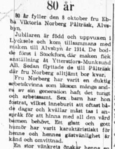 Norberg Ebba Viktoria Pålsträsk 80 år 7 okt 1965 PT