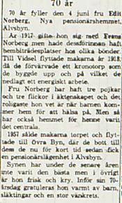 Norberg Edith Älvsbyn 70 år 2 juni 1963 NK