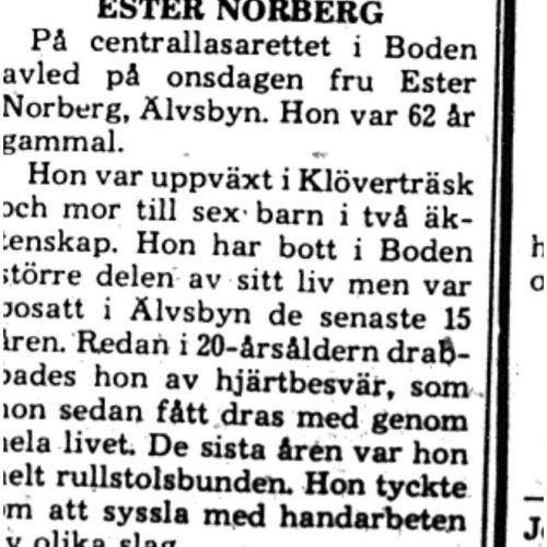 Norberg Ester Älvsbyn död 23 Maj 1975 PT
