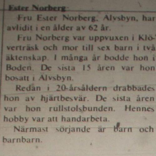 Norberg Ester Älvsbyn död 24 Maj 1975 NK