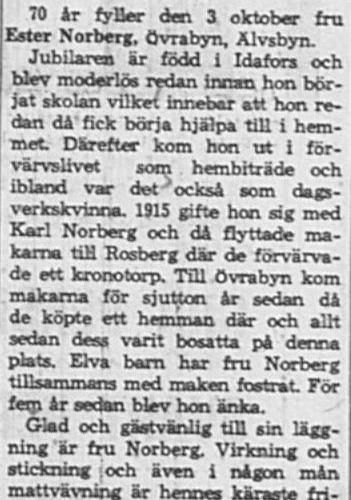 Norberg Ester Övra byn Älvsbyn 70 år 2 Okt 1965 NK