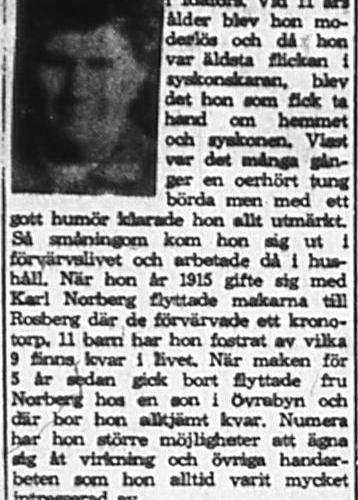 Norberg Ester Övra byn Älvsbyn 70 år 2 Okt 1965 PT