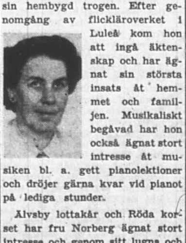 Norberg Gerda Älvsbyn 50 år 9 Juni 1956 PT