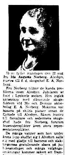 Norberg Ida Augusta Älvsbyn 75 år 20 Aug 1949 NK