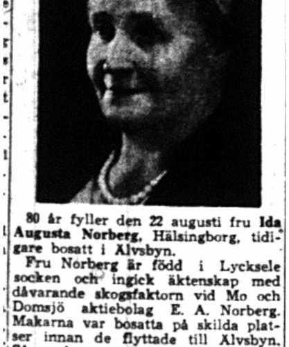 Norberg Ida Augusta fd Älvsbyn 80 år 21  Aug 1954 NK