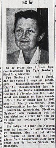 Norberg Tyra Stockfors 50 år 9 Mars 1957 NK
