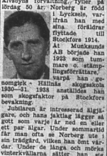 Norberg Ville Älvsbyn död 9 Aug 1957 PT
