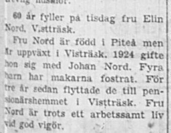 Nord Elin Vistträsk 60 år 18 Jan 1960 NSD