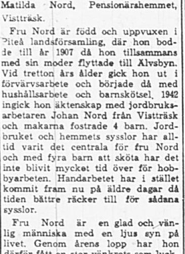 Nord Elin Vistträsk 65 år 18 Jan 1965 PT