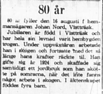 Nord Johan Vistträsk 80 år 16 Aug 1965 PT
