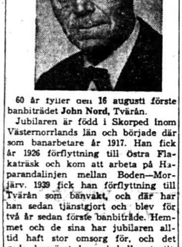 Nord  John Tvärån 60 år 15  Aug 1958 NK