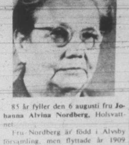 Nordberg Johanna Alvina Holsvattnet 85 år 5 aug 1972 NK