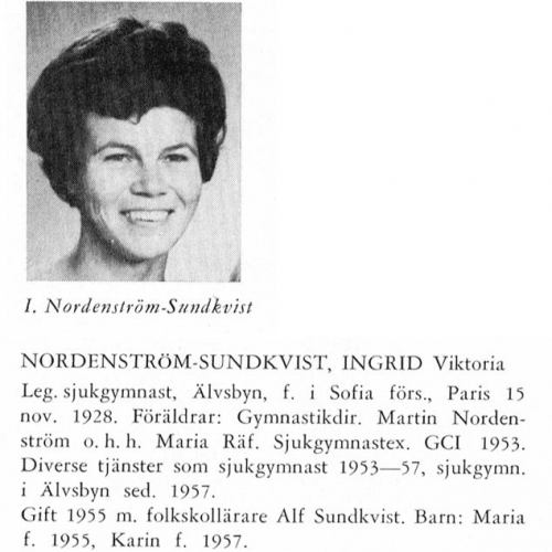 Nordenström-Sundkvist Ingrid 19281115 Från Svenskt Porträttarkiv