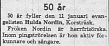 Nordin Hulda Korsträsk 50 år 11 Jan 1960 NK
