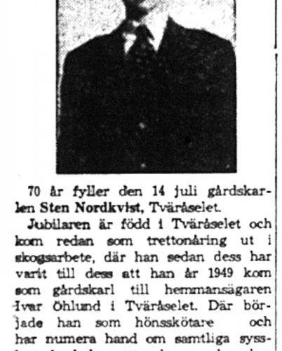 Nordkvist Sten Tväråsel 70 år 13  Juli 1959 NK
