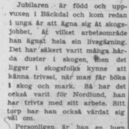 Nordlund Albert Bäckdal 60 år 10 Maj 1957 Pt