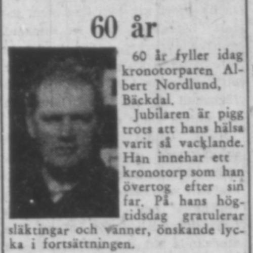 Nordlund Albert Bäckdal 60 år 11 maj 1957 PT