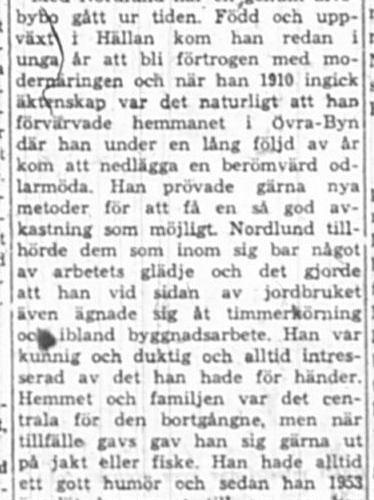 Nordlund Helmer Övrabyn död 13 Feb 1961 NK