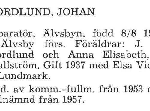 Nordlund Johan Älvsby Köping 1957