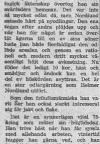 Nordlund Johan Helmer Övrabyn Älvsbyn 75 år 12 Sept 1957 Nk