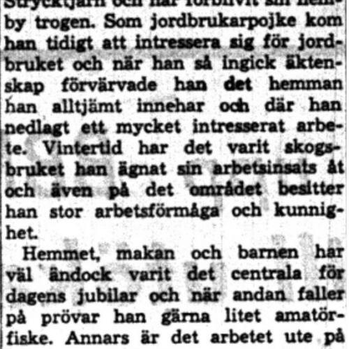Nordlund Knut Oskar Strycktjärn 50 år 14  Aug 1958 NK