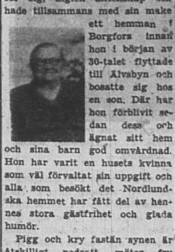 Nordlund Lydia Älvsbyn 75 år 12 Jan 1953 PT