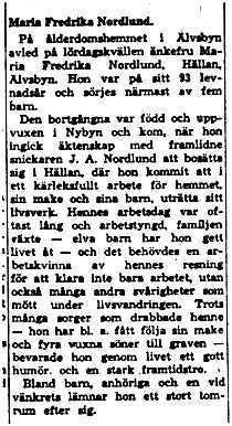 Nordlund Maria Fredrika Hällan död 3 Juni 1958 NK