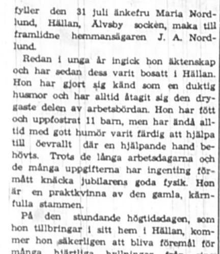 Nordlund Maria Hällan 80 år 30 Juli 1945 NK