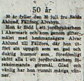 Nordlund Saida Fällfors 50 år 30 juli 1966 NK