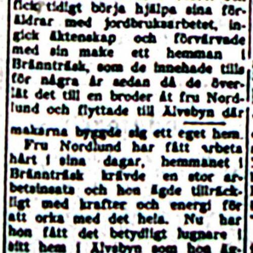 Nordlund Signe Älvsbyn 50 år 19 okt 1953 NK