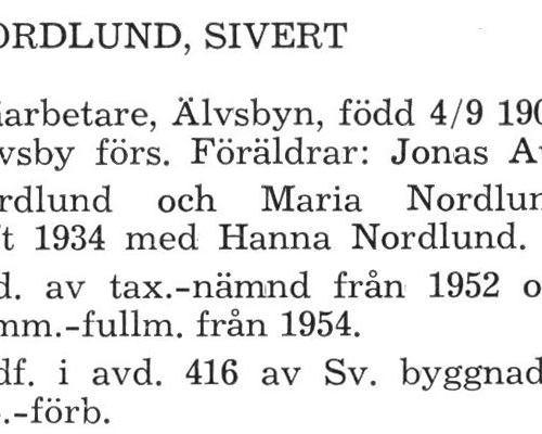Nordlund Sivert Älvsby Köping 1957