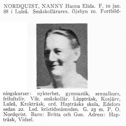 Nordquist Nanny 18880110 Från Svenskt Porträttarkiv