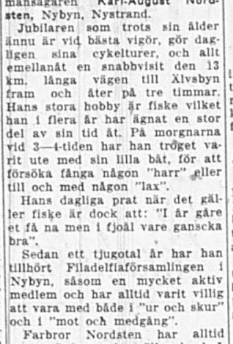Nordsten Karl-August Nybyn 75 år 6 Maj 1949 Nk