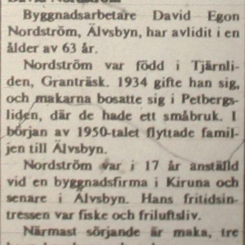 Nordström David Älvsbyn död 31 Maj 1975 NK