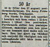 Norén Anny Frideborg Tväråselet 50 år 27 Augusti 1953 NK