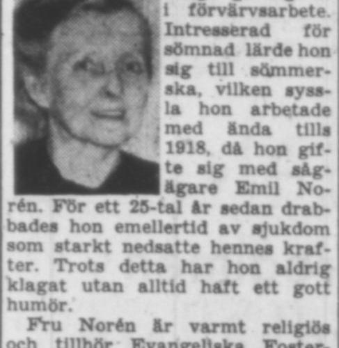 Norén Frida Vistträsk 60 år 14 Maj 1957 PT