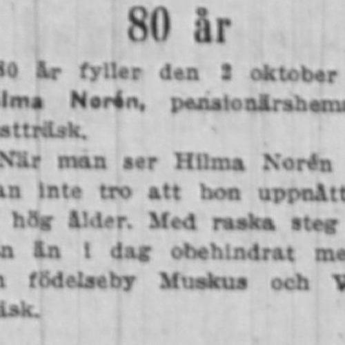 Norén Hilma Vistträsk 80 år 2 Okt 1954 NK