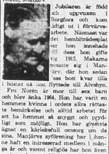 Norén Jenny Manjärv 80 år 28 April 1965 PT