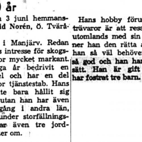 Norén Karl Gottfrid Övre Tväråsel 60 år 3 Juni 1959 NK