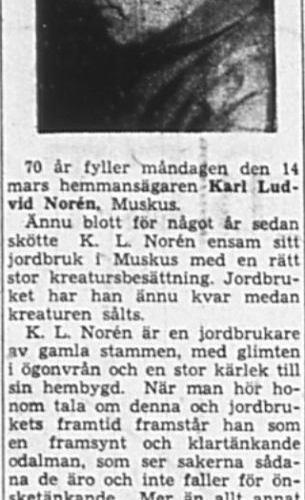 Norén Karl Ludvig Muskus 70 år 12 Mars 1949 NK
