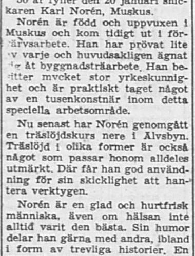 Norén Karl Muskus 50 år 19 Jan PT