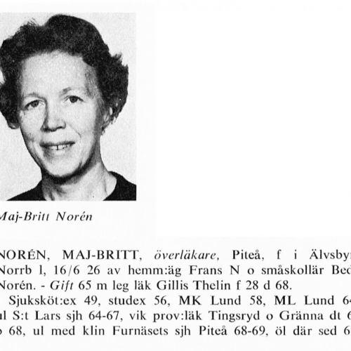 Norén Maj-britt 19260616 Ö Från Svenskt Porträttarkiv