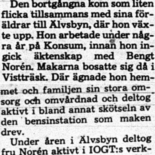 Norén Mildred Vistträsk död 14 Feb 1975 PT