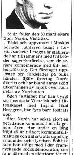 Norén Sten Vistträsk 65 år 29 Mars 1975 PT